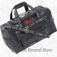 "Buy 17"" Black Leather LIVE TO RIDE Biker Bag Tote Carry On Motorcycle Duffle Gym"