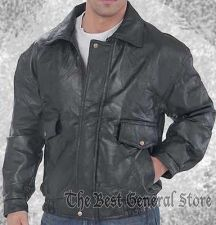 Buy Mens Genuine Black Leather Bomber Jacket New NWT