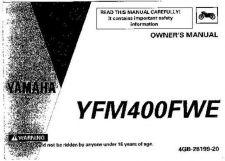 Buy Yamaha 4GB-28199-20 Quad ATV Bike Manual by download #334271