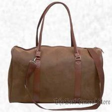 "Buy 21"" Brown Faux Leather Tote Bag Duffle Luggage Carry-On Travel Lined"