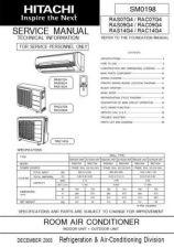Buy Hitachi RAS25YH4 RAC25YH4 Service Manual by download Mauritron #286151