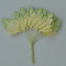 Buy 50 MULBERRY PAPER DAISY LEAVES LT. YELLOW WITH LT. GREEN EDGE 25 mm X 38 mm