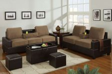 Buy Sofa Loveseat Microfiber Sofa couch 2 Pc Living room set with console #F7508