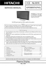 Buy Hitachi 42PD8800TA Service Manual by download Mauritron #287967