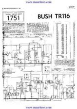 Buy BUSH. TR116. VINTAGE WIRELESS. SERVICE SHEETS. by download Mauritron #325258