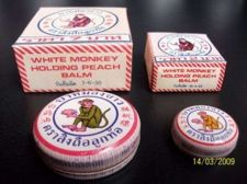 Buy 2g. WHITE MONKEY HOLDING PEACH BALM Travel Ointment Herbal Medicine Pain Relief