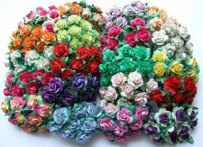 Buy 100 MIXED COLOR ARTIFICIAL MULBERRY PAPER ROSE FLOWER WEDDING SCRAPBOOK 1.5CM