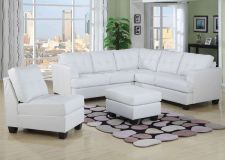 Buy Platinum White Sectional Sofa with bonded leather in modem contemporary style