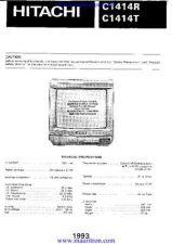 Buy HITACHI. C1414R. COLOUR TV. SERVICE MANUAL by download Mauritron #325834