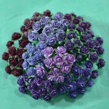 Buy 100 MIXED MINI MULBERRY PAPER ARTIFICIAL ROSE FLOWERS PURPLE TONE COLOR 10 mm