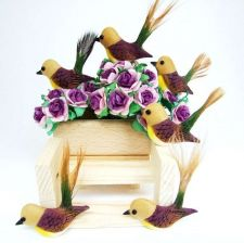 Buy CUTE PURPLE BIRDS ARTIFICIAL MINI TINY CRAFT DIY DECORATIVE FLORAL DOLLHOUSE NEW