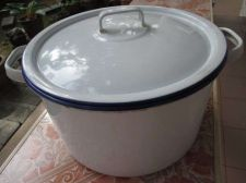 Buy Enamelware Large White Stock POT 24 cm Blue Rim 2 Handles Antique KOCKUMS Sweden