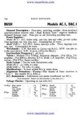 Buy BUSH. AC1. VINTAGE WIRELESS. SERVICE SHEETS. by download Mauritron #327299