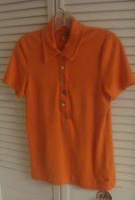 Buy Tory Burch Top M Orange Cotton Polo Shirt M - Six Tory Gold Buttons Pristine M