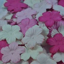 Buy 100 MIXED MULBERRY PAPER ARTIFICIAL PETAL FLOWERS PINK TONE COLOR DIA 33 mm/1.3""