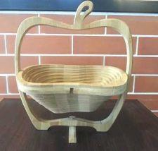 Buy Handcraft Wood Fruit Basket Apple Shape Collapsible