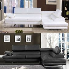 Buy Sectional Sofa Black White Sectional Couch Modern 2 Piece Living room Set CM6553