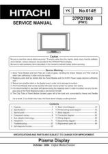 Buy Hitachi 37PD5000 Service Manual by download Mauritron #287890