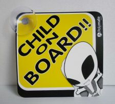 "Buy CAR SIGN W/SUCTION CUP CHILD ON BOARD BLACK YELLOW POLYMATE 5""X5"" FREESHIP NEW"