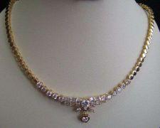 Buy THAI NECKLACE PENDANT EARRING SET WEDDING BRIDAL WHITE JEWEL GOLD PLATE HEART