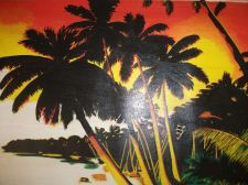 Buy Tropical Beach Painting Print canvas unframed. finishd off by hand. original