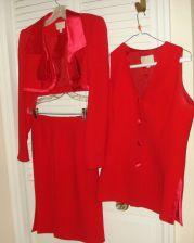Buy ALBERTO MAKALI 6 Bolero Jacket SKIRT Suit Red Three Piece Set Sleeveless Top 6