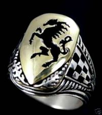 Buy Rampant Black stallion Heraldic mens ring ster silver