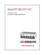 Buy Krohn Hite MV106J-116J User Guide by download #334712
