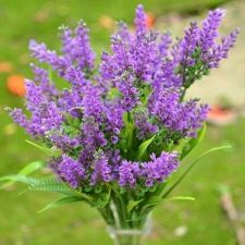 Buy 6 PCS ARTIFICIAL FLOWER LAVENDER GREEN FERN GRASS BUSH PLANT VIOLET PURPLE