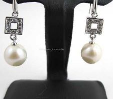Buy WHITE NATURAL PEARL EARRING & WHITE CZ STERLING 925 SILVER NEW FASHION JEWELRY