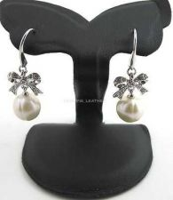Buy WHITE ROUND PEARL BOW EARRING & WHITE CZ STERING 925 SILVER FASHION JEWELRY