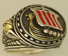Buy 10Karat Gold Viking Longship Mens silver ring