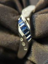 Buy NEW VINTAGE FINE BLUE SAPPHIRE & DIAMOND 18k SOLID WHITE GOLD BAGUETTE CUT RING