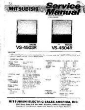 Buy Mitsubishi VS4504R Television Service Manual by download Mauritron #322091
