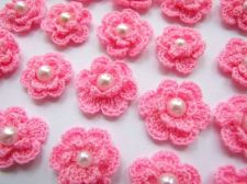 Buy 20 PINK CROCHET FLOWER PEARL APPLIQUE ARTIFICIAL SEWING CRAFT HANDMADE WEDDING