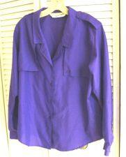 Buy Diane Von Furstenberg 12 Blouse Violet Purple Top Roll Up Long Sleeves 12