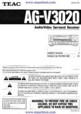 Buy Teac AGV3020 Operating Guide by download Mauritron #326344