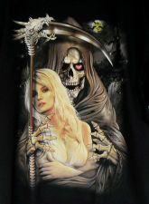 Buy Skull Grim Reaper Lady Blonde Sexy Boobs Streetwear T Shirt Men Black L New