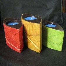 Buy THAI CRAFT VINTAGE TEALIGHT HOLDER CANDLE STICK 3 STUNNING WOOD NATURAL LEAF