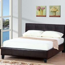 Buy Modern Queen Bed Contemporary style Platform Bed Frame Leather bed Poundex F9211