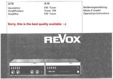 Buy Revox A78-A76 Operating Guide by download Mauritron #312218