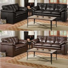 Buy Sofa & Loveseat 2 Piece Living room Set Black Coffee Bonded Leather Couch #F7869