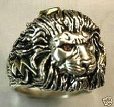 Buy LARGE LION Head Mens lightning bolt ring Sterling Silver Ruby