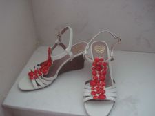 Buy Vince Camuto White Sandals 8M 38 Leather Strappy Heels Wedge Red Enamel Design