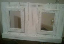 Buy Distressed Picture frame, 4x6 double hole, art, hand made and painted.