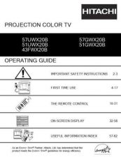 Buy Hitachi 57UWX20B 57GWX20B Service Manual by download Mauritron #288409