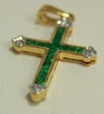 Buy VINTAGE FINE NATURAL COLOMBIAN EMERALD 18K YELLOW GOLD & DIAMOND CROSS PENDANT