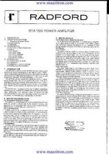 Buy RADFORD STA100 Audio Service Instructions by download Mauritron #328859