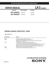 Buy Sony KDF-46E2000 TV Service Manual by download Mauritron #322843