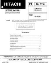 Buy Hitachi 27CX29B-511 Service Manual by download Mauritron #287677